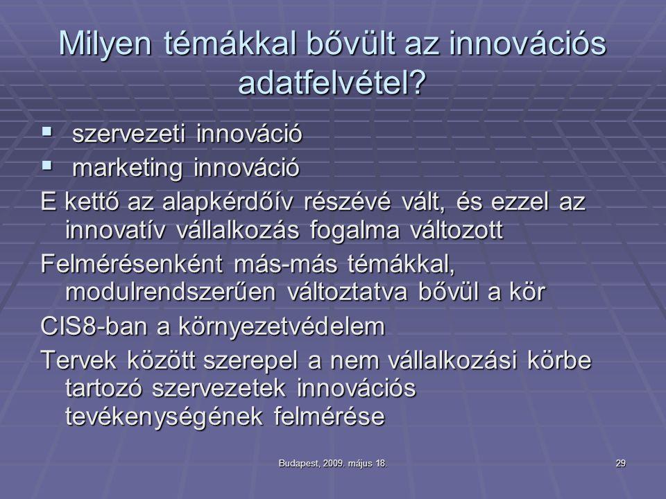 Budapest, 2009. május 18.29 Milyen témákkal bővült az innovációs adatfelvétel?  szervezeti innováció  marketing innováció E kettő az alapkérdőív rés