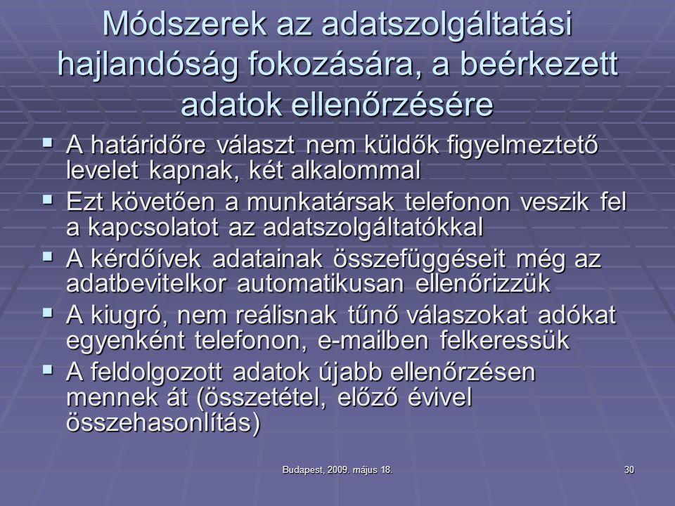 Budapest, 2009. május 18.30 Módszerek az adatszolgáltatási hajlandóság fokozására, a beérkezett adatok ellenőrzésére  A határidőre választ nem küldők