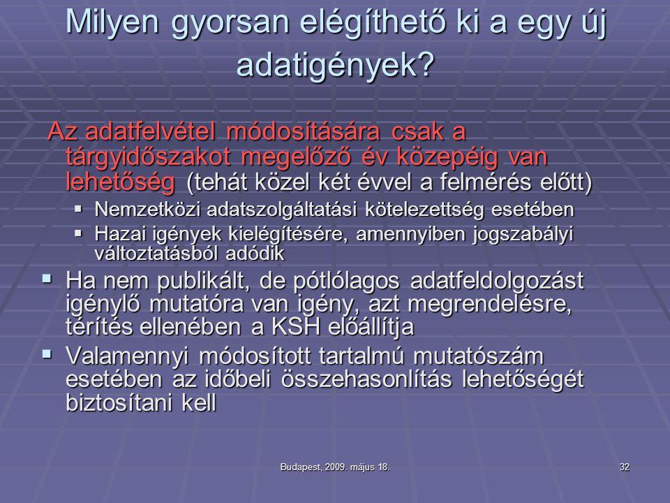 Budapest, 2009. május 18.32 Milyen gyorsan elégíthető ki a egy új adatigények? Az adatfelvétel módosítására csak a tárgyidőszakot megelőző év közepéig