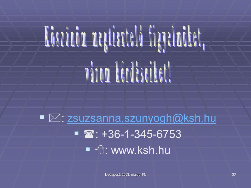 Budapest, 2009. május 18.33    : zsuzsanna.szunyogh@ksh.huzsuzsanna.szunyogh@ksh.hu    : +36-1-345-6753    : www.ksh.hu
