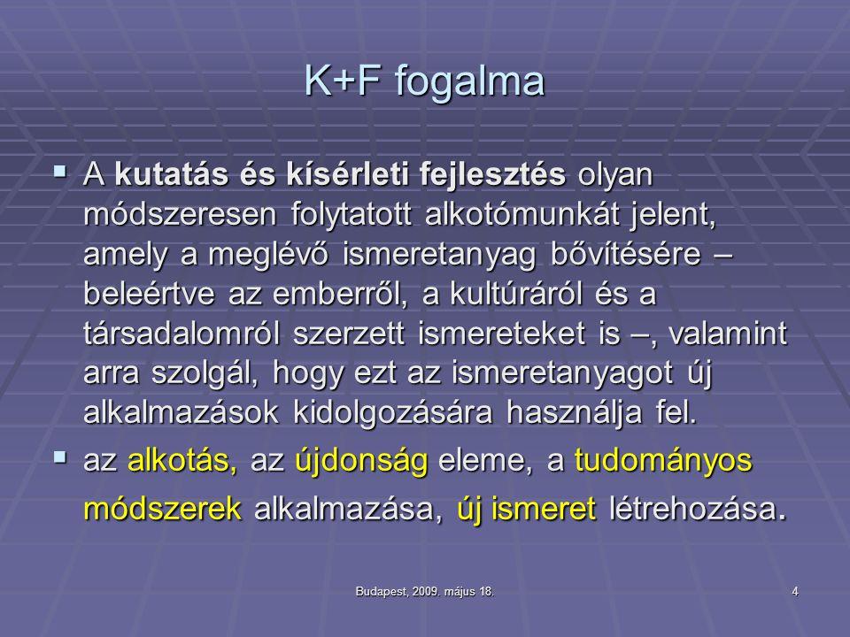 Budapest, 2009. május 18.4 K+F fogalma  A kutatás és kísérleti fejlesztés olyan módszeresen folytatott alkotómunkát jelent, amely a meglévő ismeretan