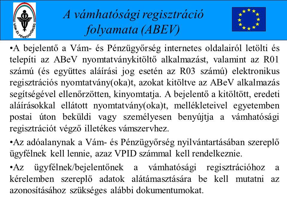 A bejelentő a Vám- és Pénzügyőrség internetes oldalairól letölti és telepíti az ABeV nyomtatványkitöltő alkalmazást, valamint az R01 számú (és együtte
