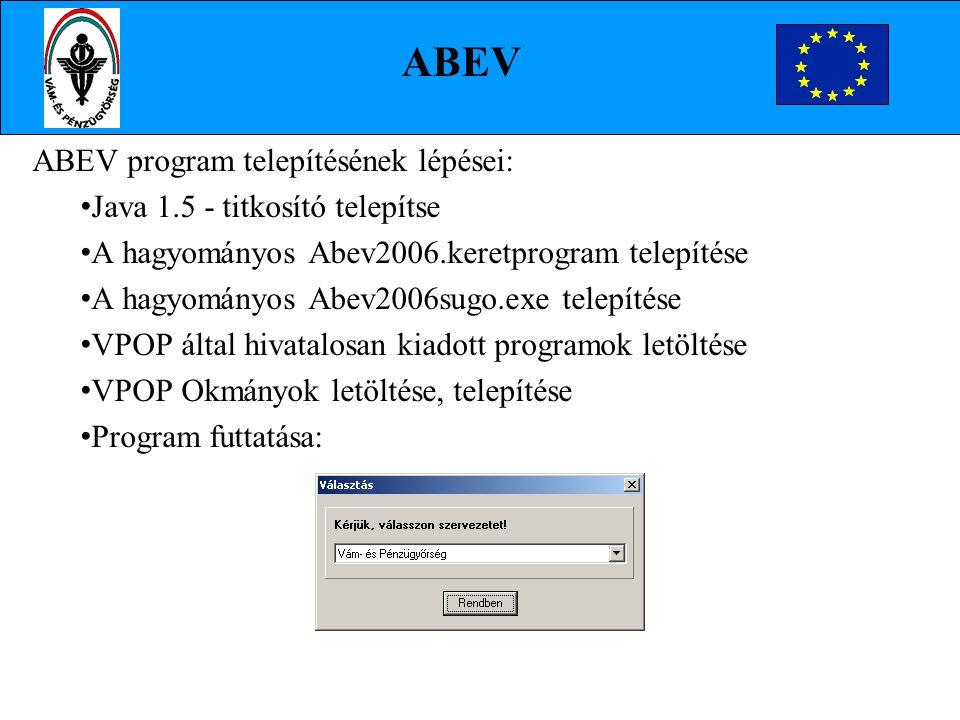 ABEV program telepítésének lépései: Java 1.5 - titkosító telepítse A hagyományos Abev2006.keretprogram telepítése A hagyományos Abev2006sugo.exe telep