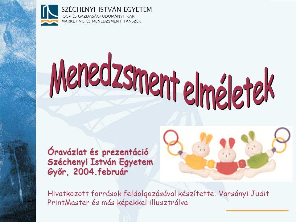 SZÉCHENYI ISTVÁN EGYETEM JOG- ÉS GAZDASÁGTUDOMÁNYI KAR MARKETING ÉS MENEDZSMENT TANSZÉK Óravázlat és prezentáció Széchenyi István Egyetem Győr, 2004.f