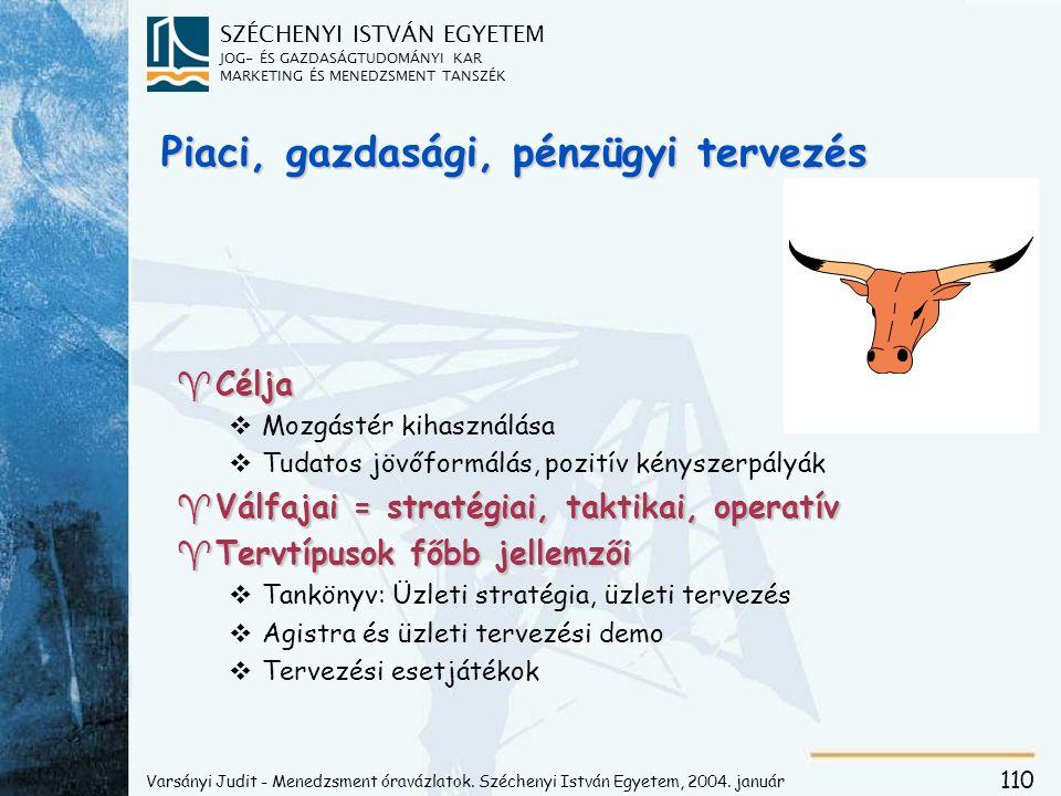 SZÉCHENYI ISTVÁN EGYETEM JOG- ÉS GAZDASÁGTUDOMÁNYI KAR MARKETING ÉS MENEDZSMENT TANSZÉK 110 Piaci, gazdasági, pénzügyi tervezés ^Célja vMozgástér kihasználása vTudatos jövőformálás, pozitív kényszerpályák ^Válfajai = stratégiai, taktikai, operatív ^Tervtípusok főbb jellemzői vTankönyv: Üzleti stratégia, üzleti tervezés vAgistra és üzleti tervezési demo vTervezési esetjátékok Varsányi Judit - Menedzsment óravázlatok.