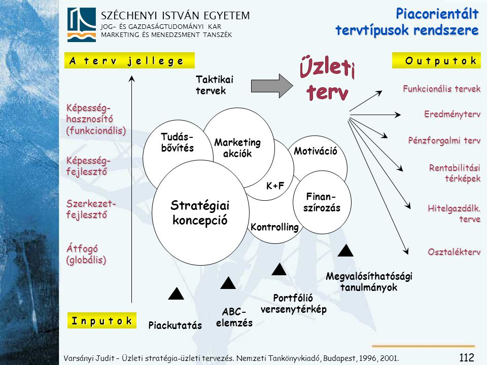 SZÉCHENYI ISTVÁN EGYETEM JOG- ÉS GAZDASÁGTUDOMÁNYI KAR MARKETING ÉS MENEDZSMENT TANSZÉK 112 Piacorientált tervtípusok rendszere Képesség- hasznosító (funkcionális) Képesség- fejlesztő Szerkezet- fejlesztő Átfogó (globális) I n p u t o k Pénzforgalmi terv Eredményterv Funkcionális tervek Osztalékterv Hitelgazdálk.