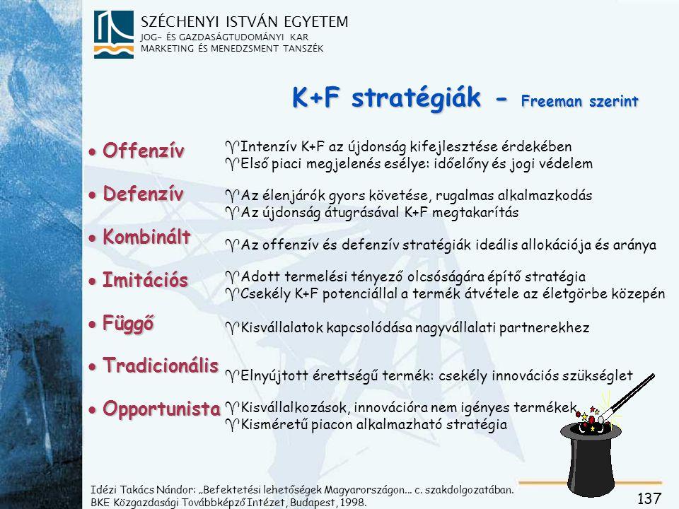 SZÉCHENYI ISTVÁN EGYETEM JOG- ÉS GAZDASÁGTUDOMÁNYI KAR MARKETING ÉS MENEDZSMENT TANSZÉK 137 K+F stratégiák - Freeman szerint  Offenzív  Defenzív  K