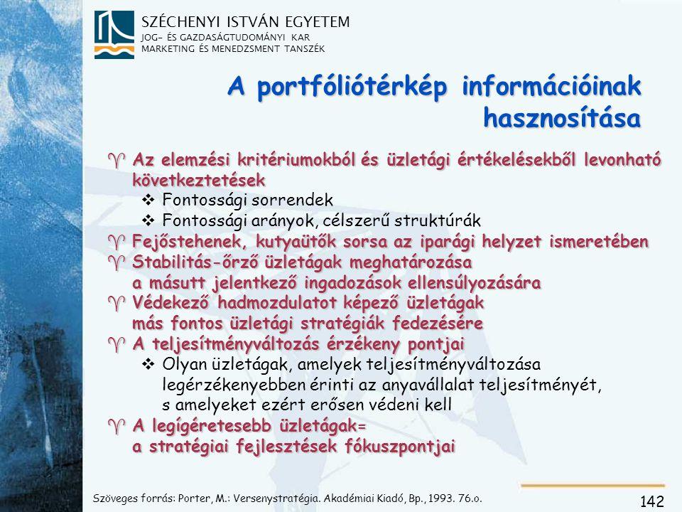 SZÉCHENYI ISTVÁN EGYETEM JOG- ÉS GAZDASÁGTUDOMÁNYI KAR MARKETING ÉS MENEDZSMENT TANSZÉK 142 Szöveges forrás: Porter, M.: Versenystratégia.