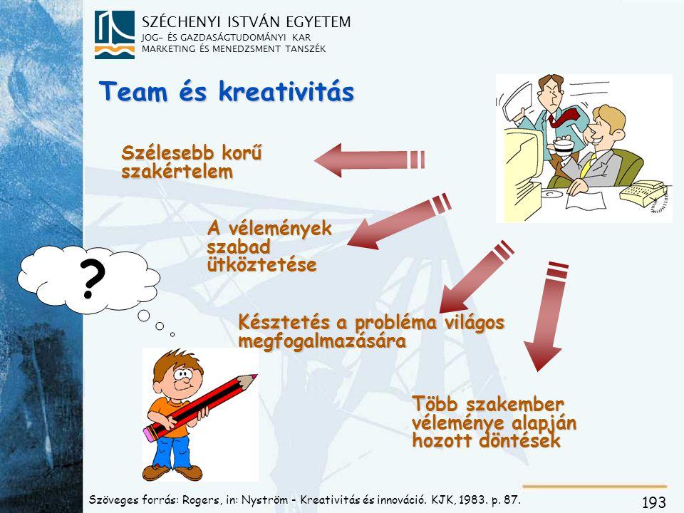 SZÉCHENYI ISTVÁN EGYETEM JOG- ÉS GAZDASÁGTUDOMÁNYI KAR MARKETING ÉS MENEDZSMENT TANSZÉK 193 Team és kreativitás Szélesebb korű szakértelem A véleménye