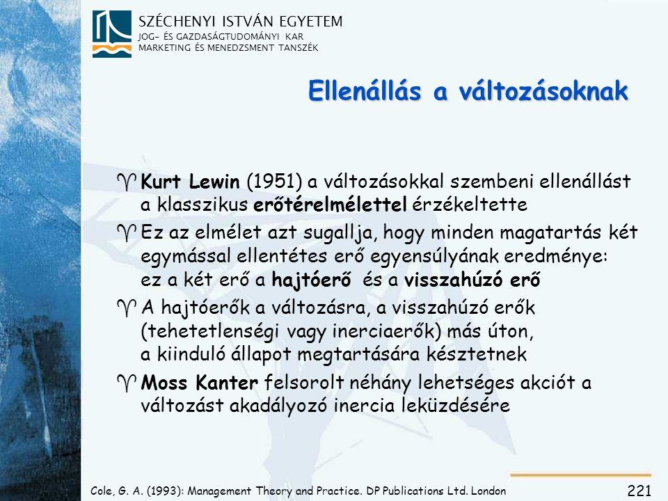 SZÉCHENYI ISTVÁN EGYETEM JOG- ÉS GAZDASÁGTUDOMÁNYI KAR MARKETING ÉS MENEDZSMENT TANSZÉK 221 Ellenállás a változásoknak ^ ^Kurt Lewin (1951) a változás