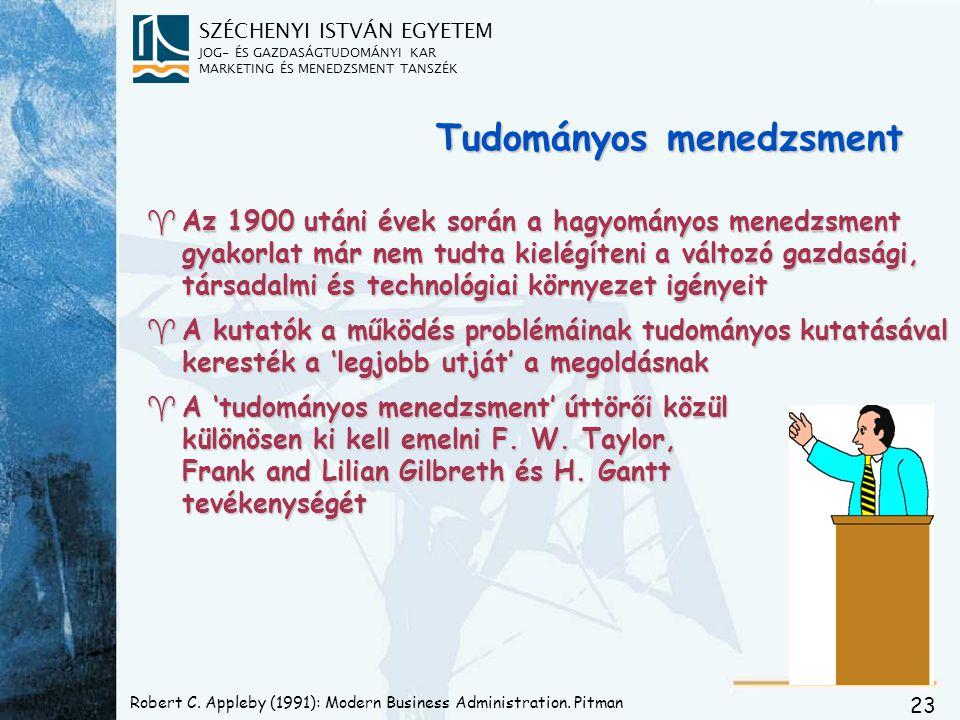 SZÉCHENYI ISTVÁN EGYETEM JOG- ÉS GAZDASÁGTUDOMÁNYI KAR MARKETING ÉS MENEDZSMENT TANSZÉK 23 Robert C. Appleby (1991): Modern Business Administration. P