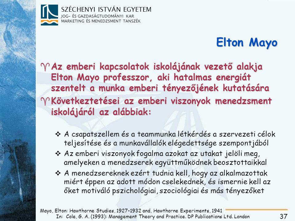 SZÉCHENYI ISTVÁN EGYETEM JOG- ÉS GAZDASÁGTUDOMÁNYI KAR MARKETING ÉS MENEDZSMENT TANSZÉK 37 Mayo, Elton: Hawthorne Studies, 1927-1932 and, Hawthorne Ex