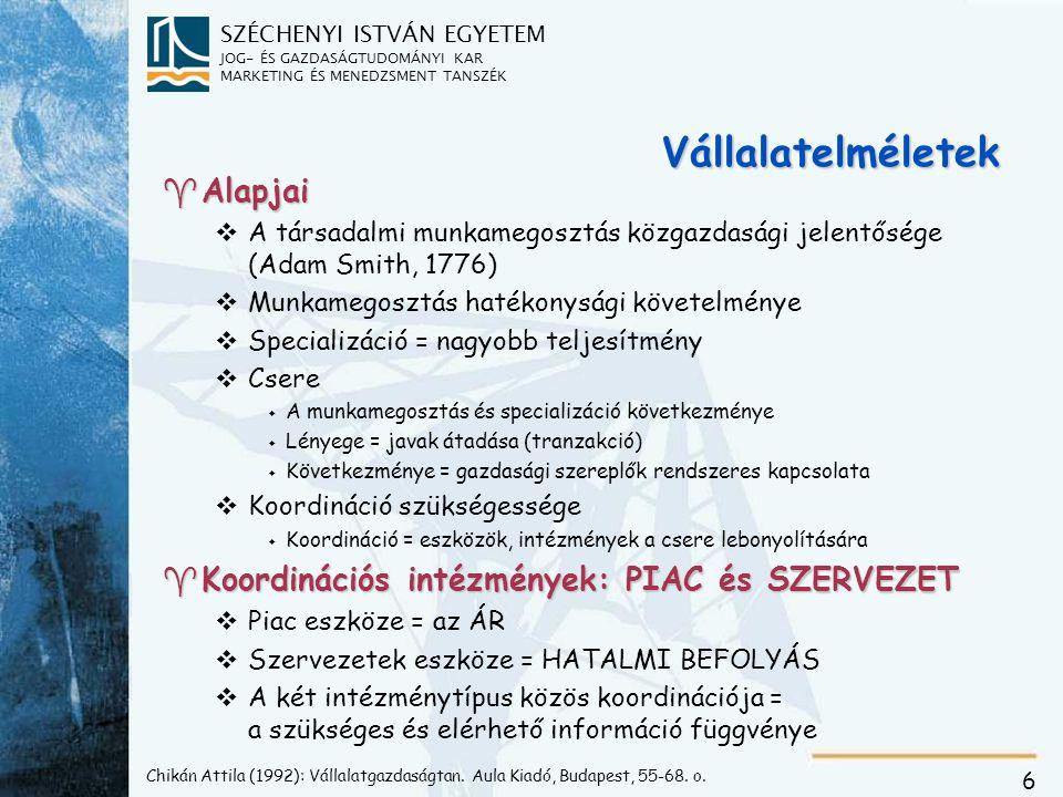 SZÉCHENYI ISTVÁN EGYETEM JOG- ÉS GAZDASÁGTUDOMÁNYI KAR MARKETING ÉS MENEDZSMENT TANSZÉK 6 Chikán Attila (1992): Vállalatgazdaságtan.