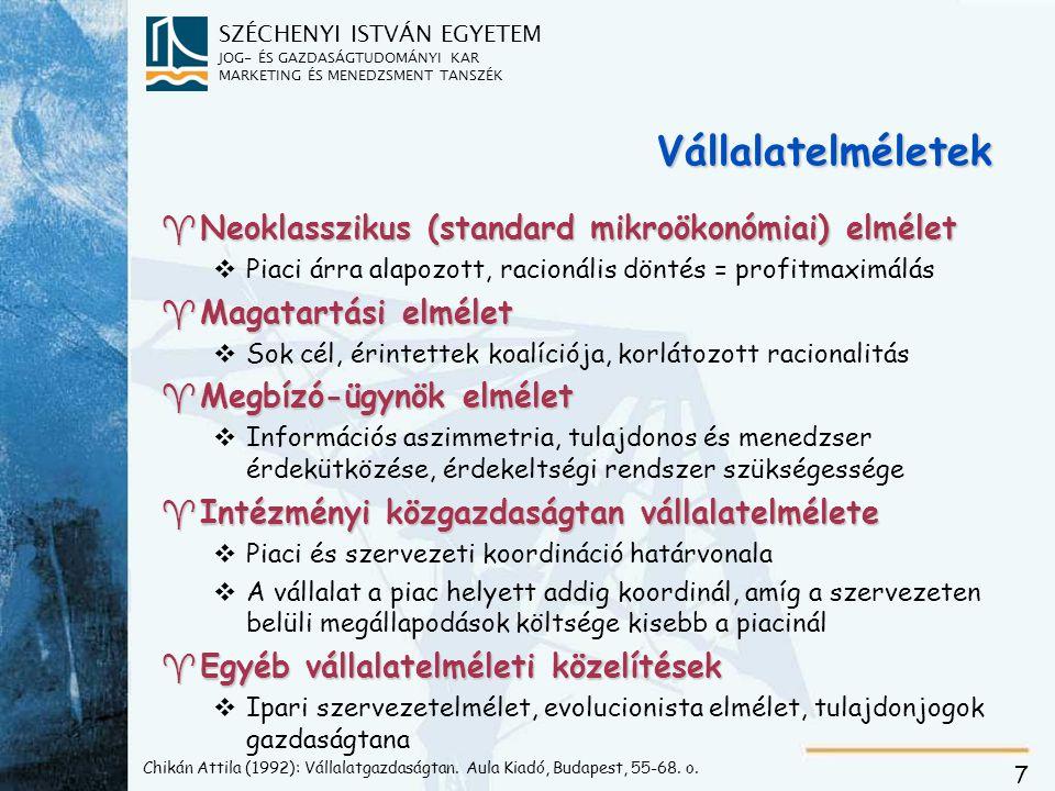 SZÉCHENYI ISTVÁN EGYETEM JOG- ÉS GAZDASÁGTUDOMÁNYI KAR MARKETING ÉS MENEDZSMENT TANSZÉK 7 Chikán Attila (1992): Vállalatgazdaságtan.