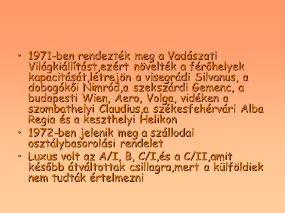 1971-ben rendezték meg a Vadászati Világkiállítást,ezért növelték a férőhelyek kapacitását,létrejön a visegrádi Silvanus, a dobogókői Nimród,a szekszá
