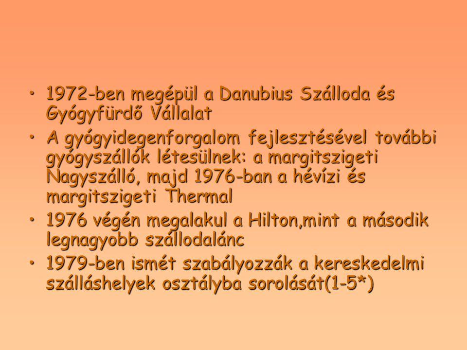 1972-ben megépül a Danubius Szálloda és Gyógyfürdő Vállalat1972-ben megépül a Danubius Szálloda és Gyógyfürdő Vállalat A gyógyidegenforgalom fejleszté