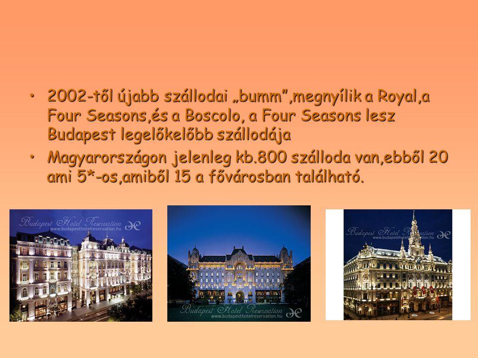 """2002-től újabb szállodai """"bumm"""",megnyílik a Royal,a Four Seasons,és a Boscolo, a Four Seasons lesz Budapest legelőkelőbb szállodája2002-től újabb szál"""