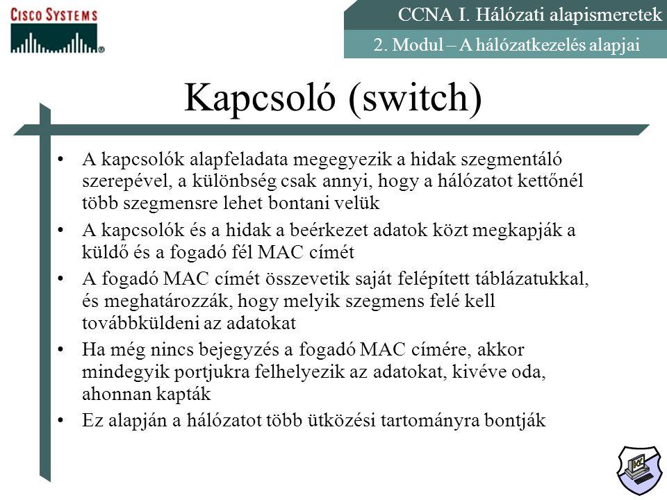 CCNA I. Hálózati alapismeretek 2. Modul – A hálózatkezelés alapjai Kapcsoló (switch) A kapcsolók alapfeladata megegyezik a hidak szegmentáló szerepéve