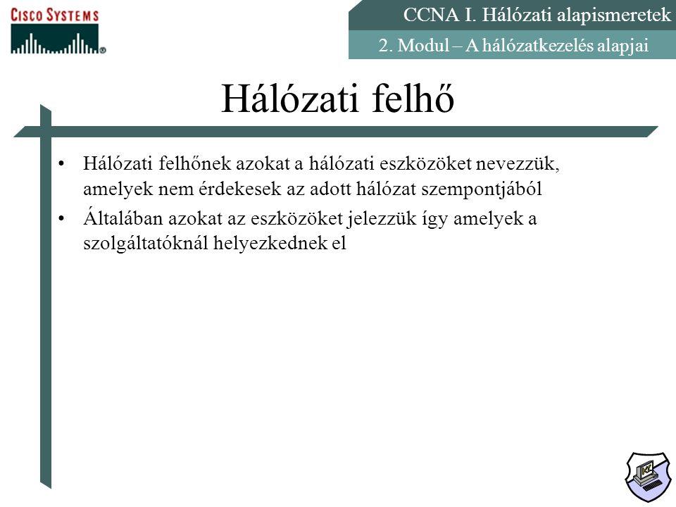 CCNA I. Hálózati alapismeretek 2. Modul – A hálózatkezelés alapjai Hálózati felhő Hálózati felhőnek azokat a hálózati eszközöket nevezzük, amelyek nem