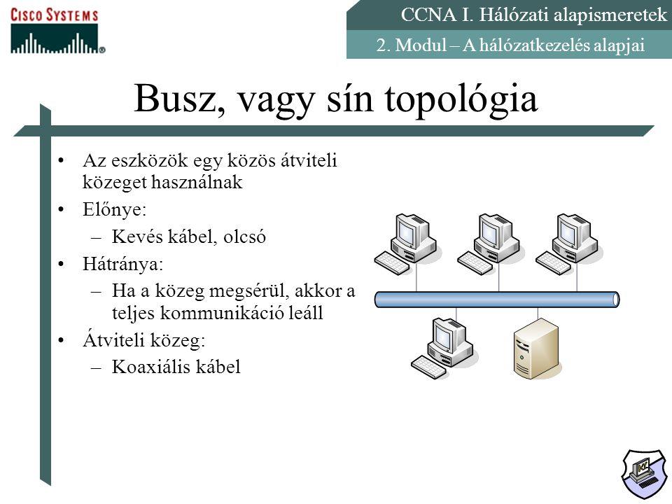CCNA I. Hálózati alapismeretek 2. Modul – A hálózatkezelés alapjai Busz, vagy sín topológia Az eszközök egy közös átviteli közeget használnak Előnye:
