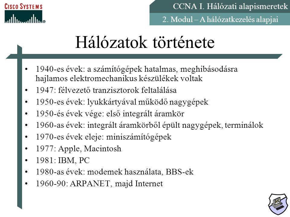 CCNA I. Hálózati alapismeretek 2. Modul – A hálózatkezelés alapjai Hálózatok története 1940-es évek: a számítógépek hatalmas, meghibásodásra hajlamos