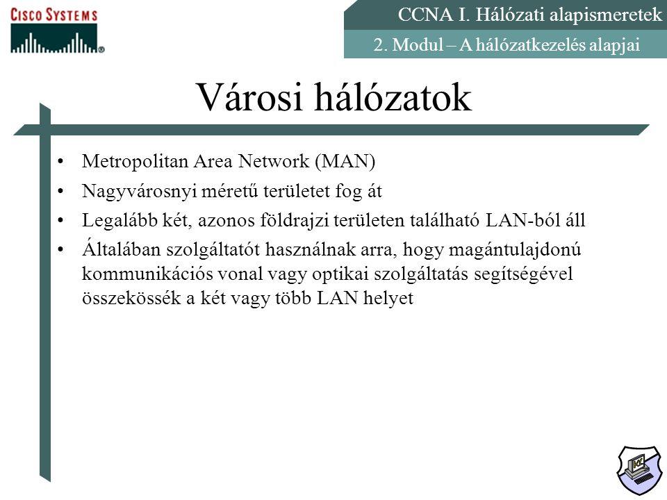 CCNA I. Hálózati alapismeretek 2. Modul – A hálózatkezelés alapjai Városi hálózatok Metropolitan Area Network (MAN) Nagyvárosnyi méretű területet fog