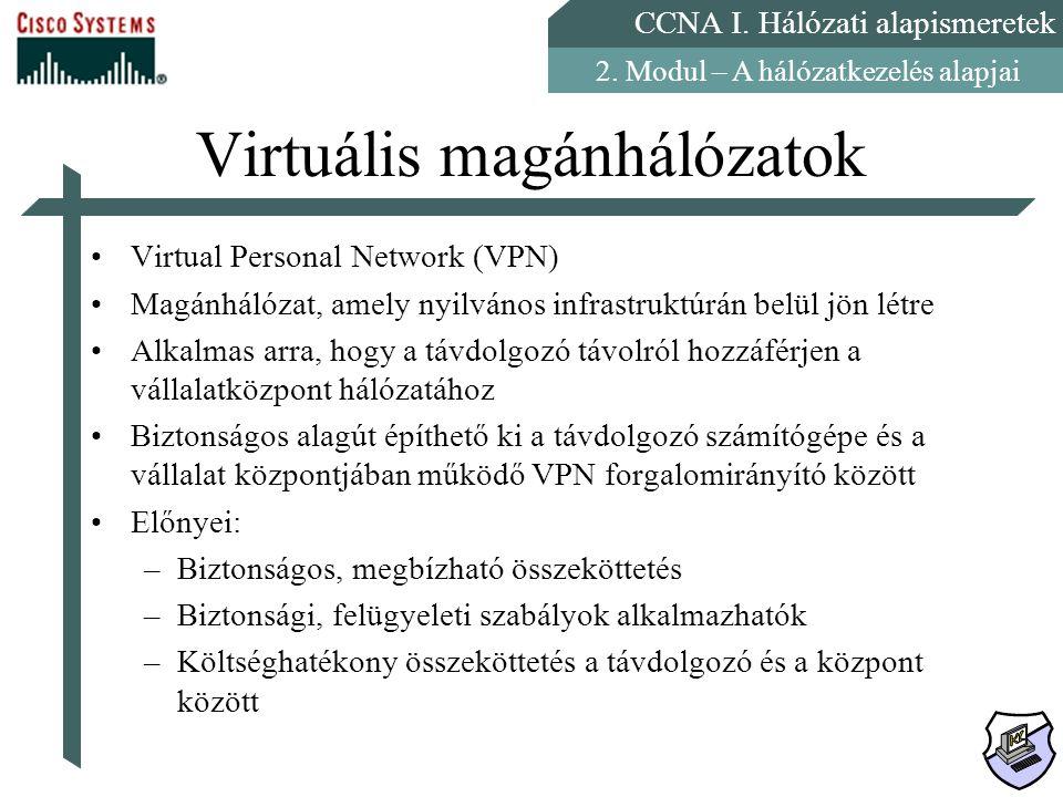 CCNA I. Hálózati alapismeretek 2. Modul – A hálózatkezelés alapjai Virtuális magánhálózatok Virtual Personal Network (VPN) Magánhálózat, amely nyilván
