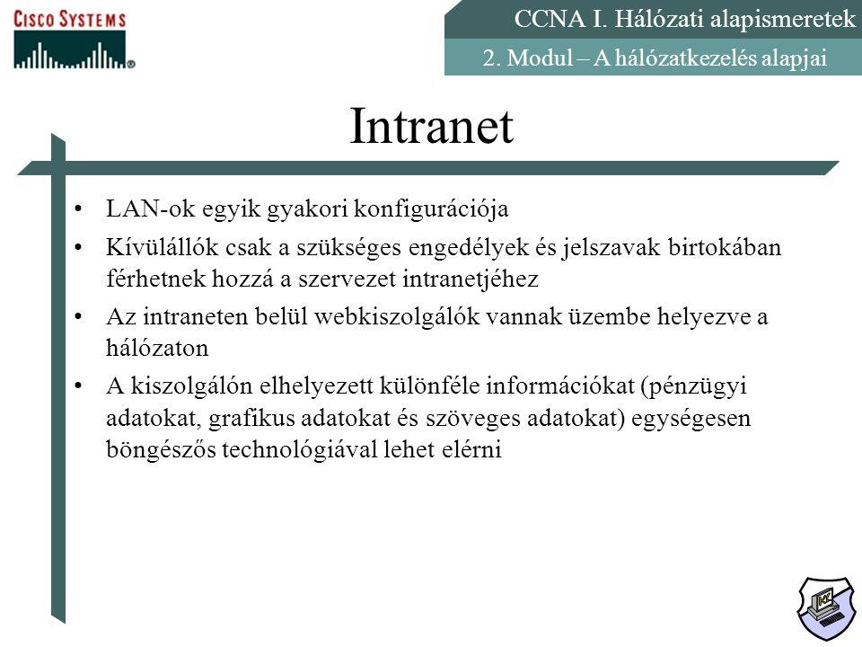 CCNA I. Hálózati alapismeretek 2. Modul – A hálózatkezelés alapjai Intranet LAN-ok egyik gyakori konfigurációja Kívülállók csak a szükséges engedélyek