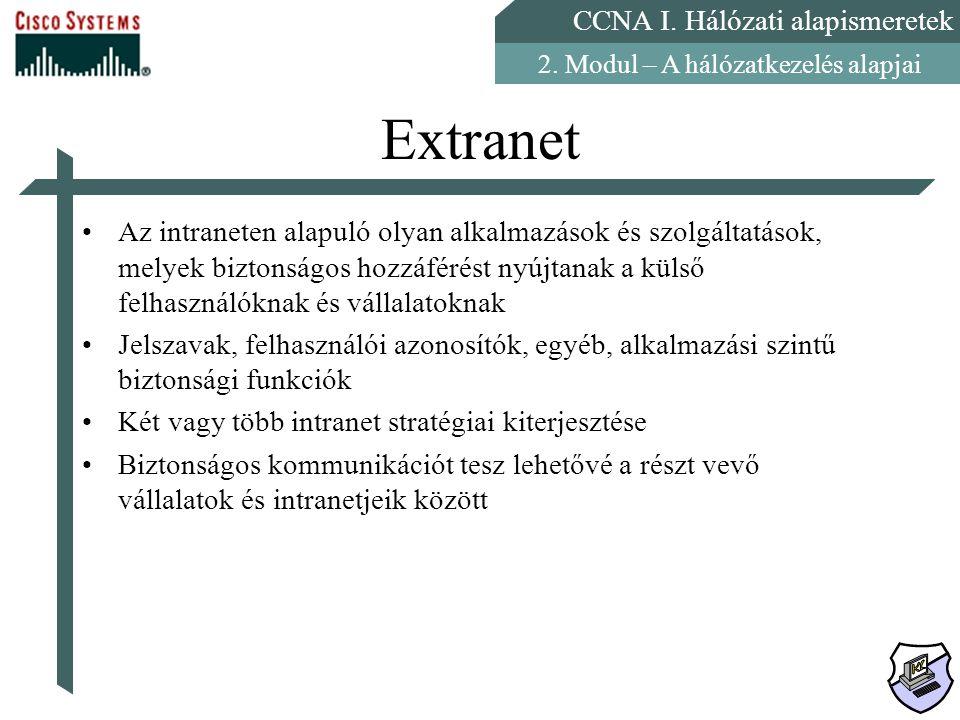 CCNA I. Hálózati alapismeretek 2. Modul – A hálózatkezelés alapjai Extranet Az intraneten alapuló olyan alkalmazások és szolgáltatások, melyek biztons