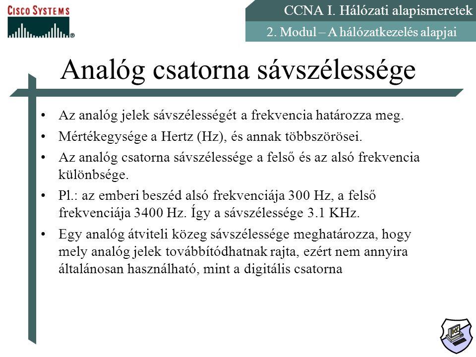 CCNA I. Hálózati alapismeretek 2. Modul – A hálózatkezelés alapjai Analóg csatorna sávszélessége Az analóg jelek sávszélességét a frekvencia határozza