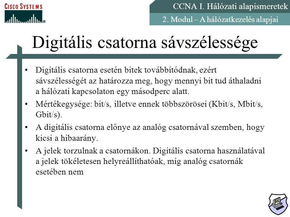 CCNA I. Hálózati alapismeretek 2. Modul – A hálózatkezelés alapjai Digitális csatorna sávszélessége Digitális csatorna esetén bitek továbbítódnak, ezé