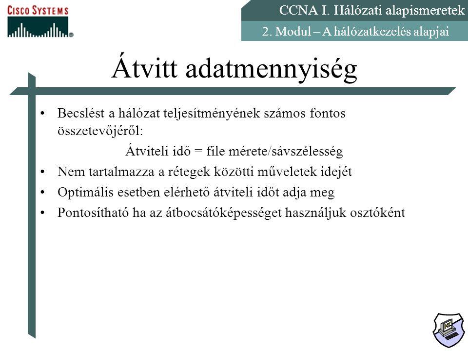 CCNA I. Hálózati alapismeretek 2. Modul – A hálózatkezelés alapjai Átvitt adatmennyiség Becslést a hálózat teljesítményének számos fontos összetevőjér