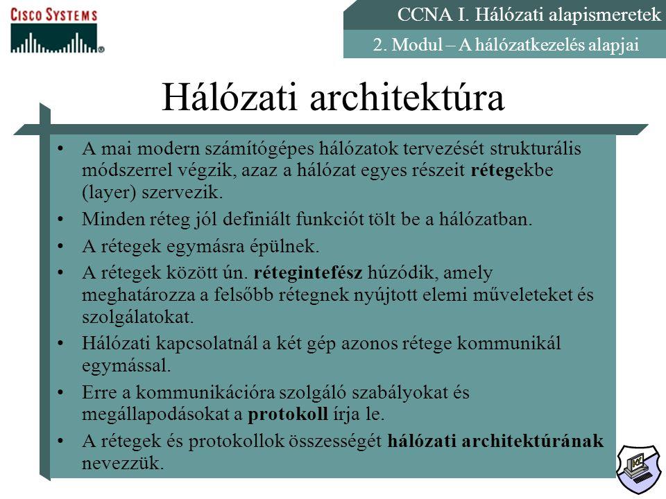CCNA I. Hálózati alapismeretek 2. Modul – A hálózatkezelés alapjai Hálózati architektúra A mai modern számítógépes hálózatok tervezését strukturális m