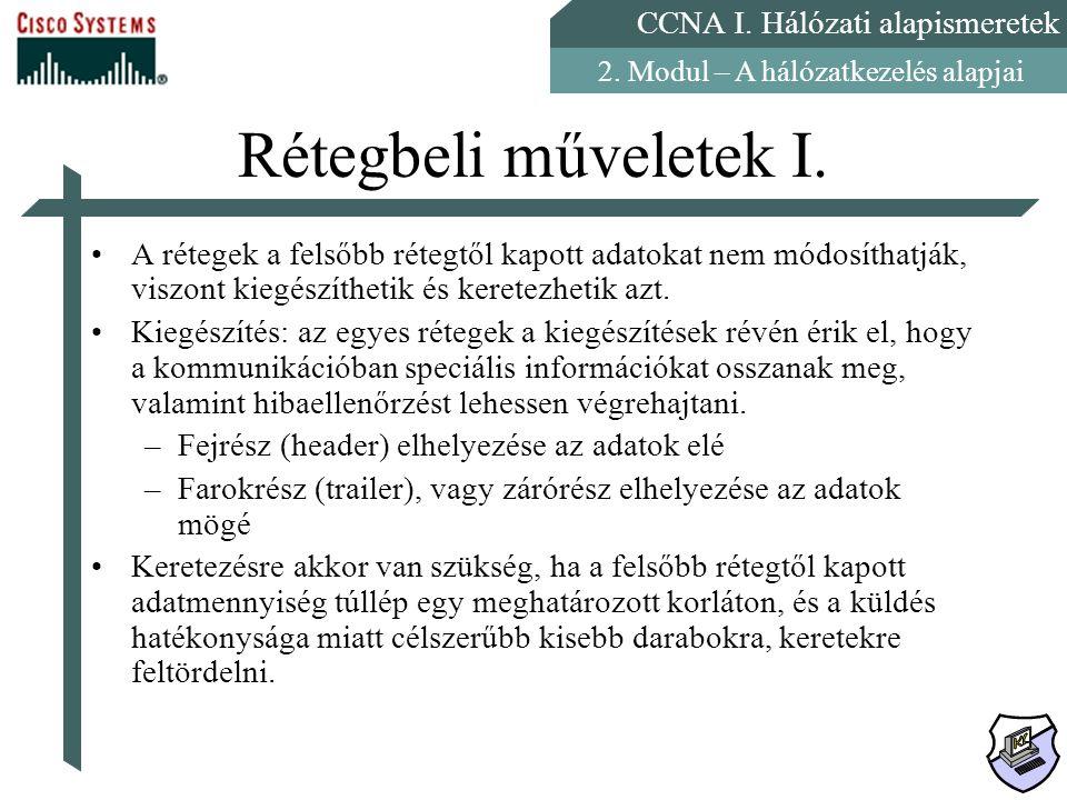 CCNA I. Hálózati alapismeretek 2. Modul – A hálózatkezelés alapjai Rétegbeli műveletek I. A rétegek a felsőbb rétegtől kapott adatokat nem módosíthatj