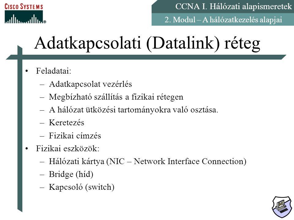CCNA I. Hálózati alapismeretek 2. Modul – A hálózatkezelés alapjai Adatkapcsolati (Datalink) réteg Feladatai: –Adatkapcsolat vezérlés –Megbízható szál