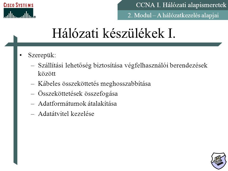 CCNA I. Hálózati alapismeretek 2. Modul – A hálózatkezelés alapjai Hálózati készülékek I. Szerepük: –Szállítási lehetőség biztosítása végfelhasználói