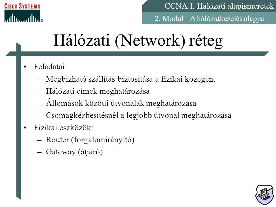 CCNA I. Hálózati alapismeretek 2. Modul – A hálózatkezelés alapjai Hálózati (Network) réteg Feladatai: –Megbízható szállítás biztosítása a fizikai köz
