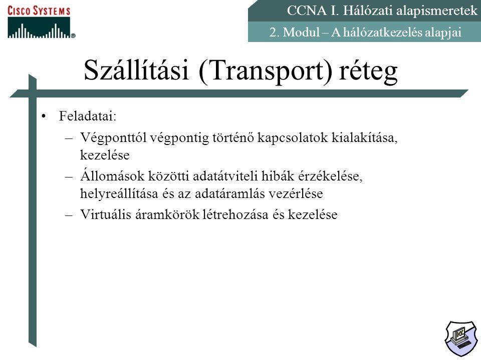 CCNA I. Hálózati alapismeretek 2. Modul – A hálózatkezelés alapjai Szállítási (Transport) réteg Feladatai: –Végponttól végpontig történő kapcsolatok k