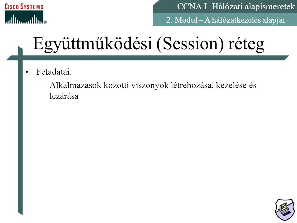 CCNA I. Hálózati alapismeretek 2. Modul – A hálózatkezelés alapjai Együttműködési (Session) réteg Feladatai: –Alkalmazások közötti viszonyok létrehozá