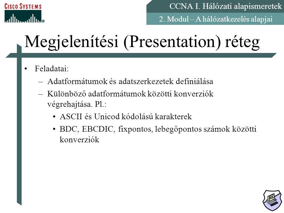 CCNA I. Hálózati alapismeretek 2. Modul – A hálózatkezelés alapjai Megjelenítési (Presentation) réteg Feladatai: –Adatformátumok és adatszerkezetek de