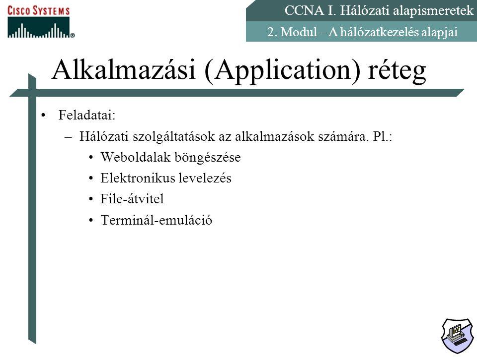 CCNA I. Hálózati alapismeretek 2. Modul – A hálózatkezelés alapjai Alkalmazási (Application) réteg Feladatai: –Hálózati szolgáltatások az alkalmazások