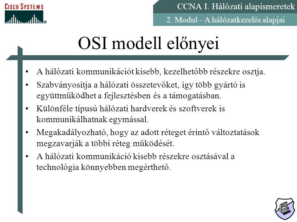 CCNA I. Hálózati alapismeretek 2. Modul – A hálózatkezelés alapjai OSI modell előnyei A hálózati kommunikációt kisebb, kezelhetőbb részekre osztja. Sz