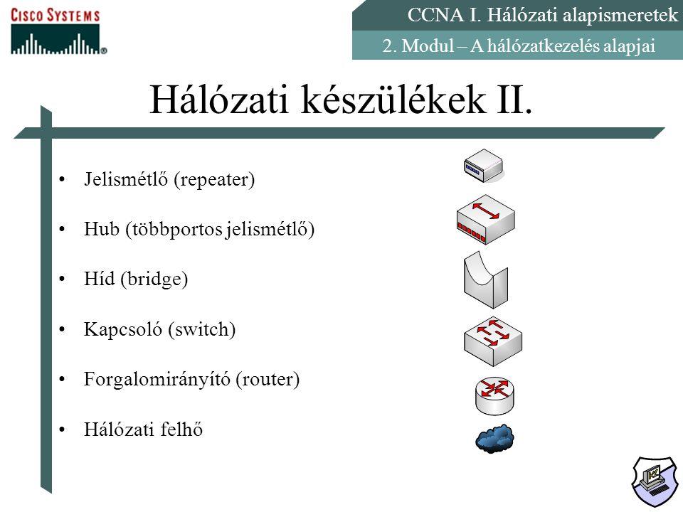 CCNA I. Hálózati alapismeretek 2. Modul – A hálózatkezelés alapjai Hálózati készülékek II. Jelismétlő (repeater) Hub (többportos jelismétlő) Híd (brid