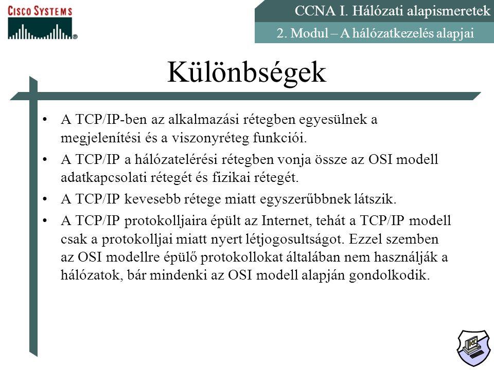 CCNA I. Hálózati alapismeretek 2. Modul – A hálózatkezelés alapjai Különbségek A TCP/IP-ben az alkalmazási rétegben egyesülnek a megjelenítési és a vi