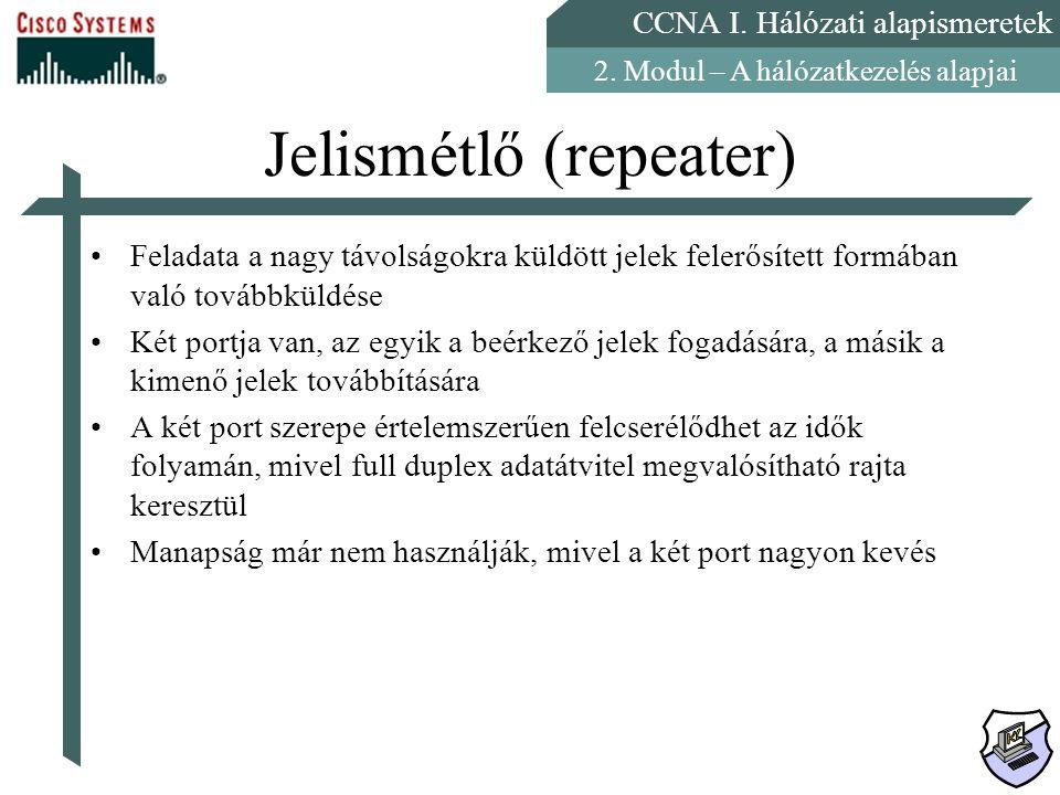 CCNA I. Hálózati alapismeretek 2. Modul – A hálózatkezelés alapjai Jelismétlő (repeater) Feladata a nagy távolságokra küldött jelek felerősített formá