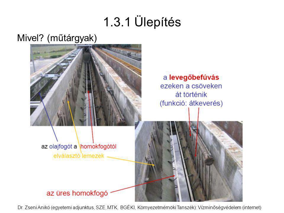 1.3.1 Ülepítés Mivel? (műtárgyak) Dr. Zseni Anikó (egyetemi adjunktus, SZE, MTK, BGÉKI, Környezetmérnöki Tanszék): Vízminőségvédelem (internet)