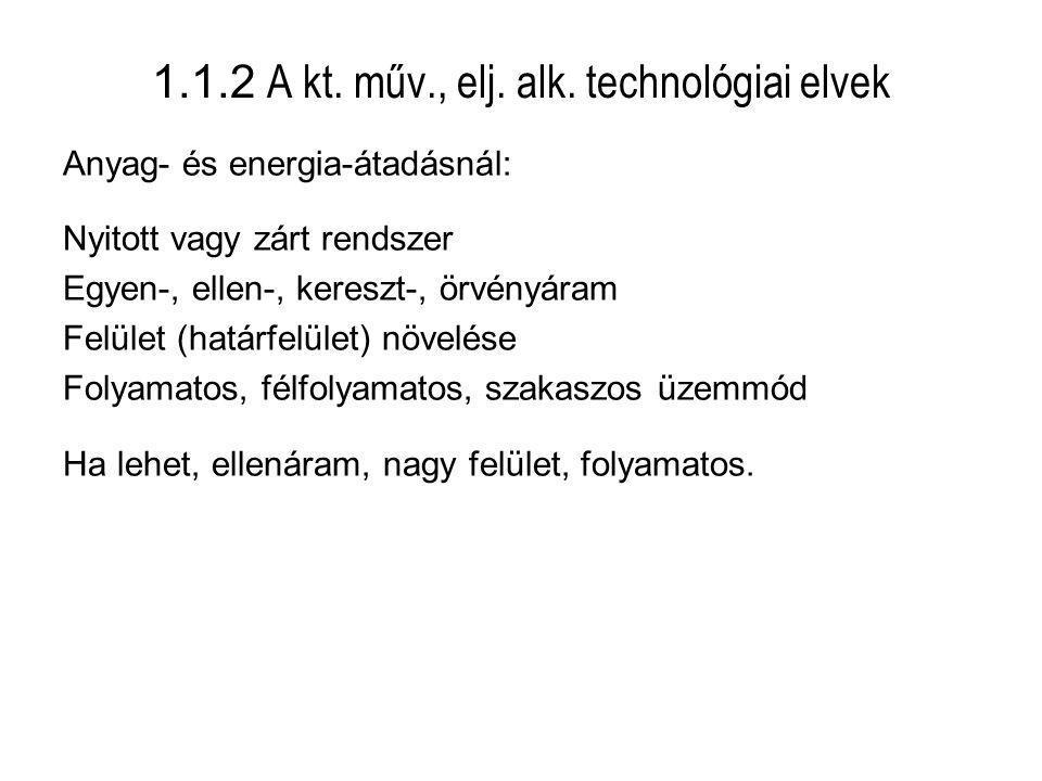 1.1.2 A kt. műv., elj. alk. technológiai elvek Anyag- és energia-átadásnál: Nyitott vagy zárt rendszer Egyen-, ellen-, kereszt-, örvényáram Felület (h
