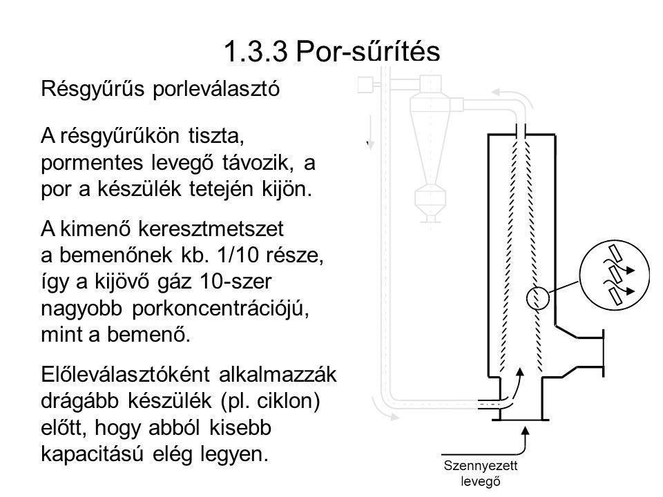 1.3.3 Por-sűrítés A résgyűrűkön tiszta, pormentes levegő távozik, a por a készülék tetején kijön. A kimenő keresztmetszet a bemenőnek kb. 1/10 része,