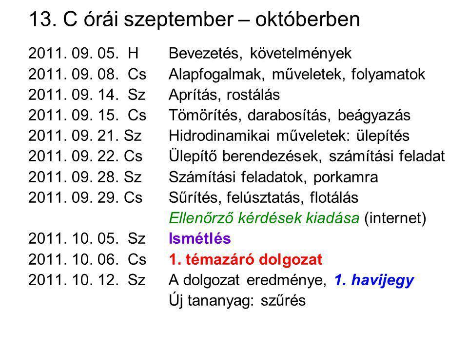 13. C órái szeptember – októberben 2011. 09. 05. HBevezetés, követelmények 2011. 09. 08. CsAlapfogalmak, műveletek, folyamatok 2011. 09. 14. SzAprítás