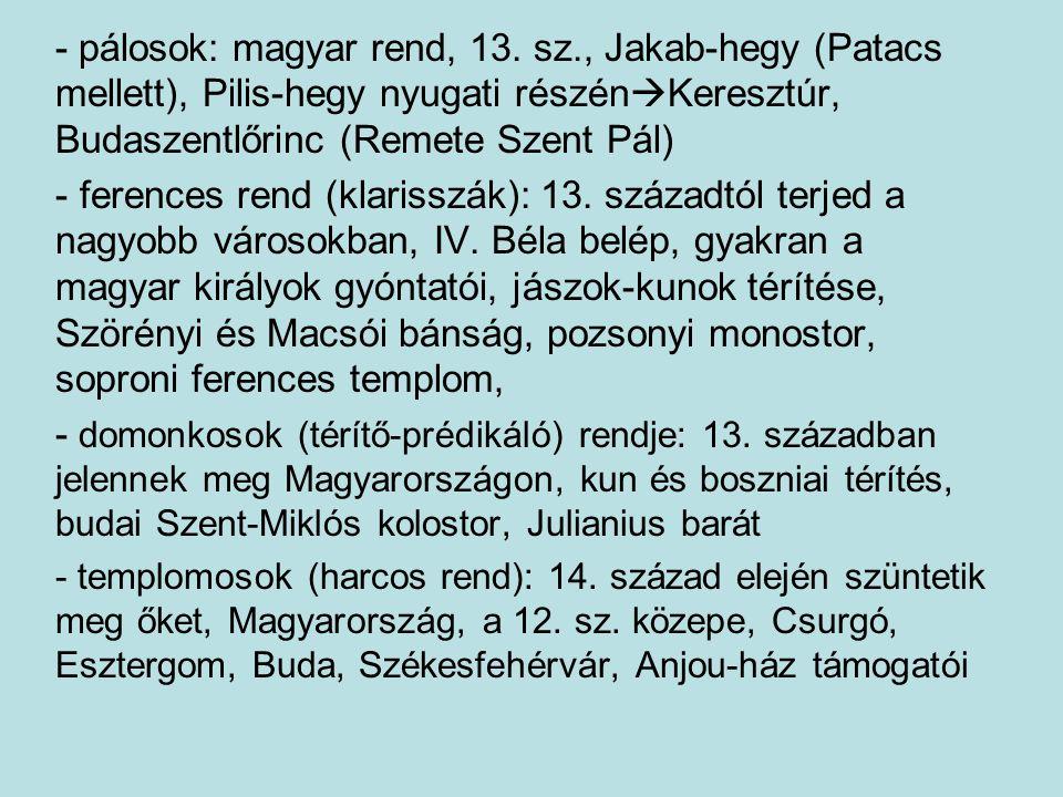 - pálosok: magyar rend, 13. sz., Jakab-hegy (Patacs mellett), Pilis-hegy nyugati részén  Keresztúr, Budaszentlőrinc (Remete Szent Pál) - ferences ren